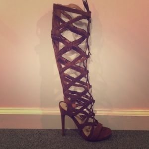 Braided Knee High Gladiator Heels